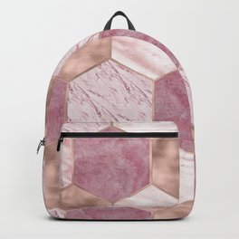 Pink marble honeycomb with rose gold accents Backpack