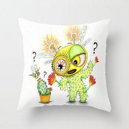 Creepy Cacto-Bee Throw Pillow