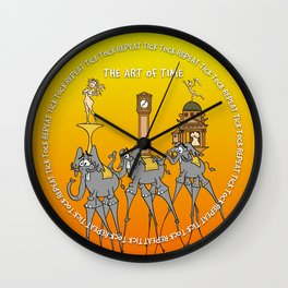 The temptation of time in orange Wall Clock