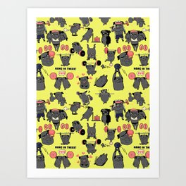 Black Pug Crossfit Art Print