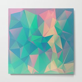 Fractured, Colorful Triangles Geometric Shapes Metal Print