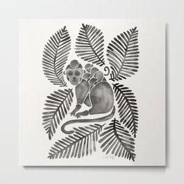 Monkey Cuddles – Black Palette Metal Print