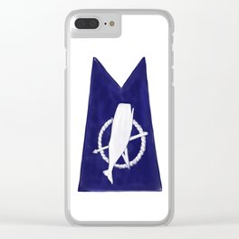 Nantucket Blue and White Sperm Whale Burgee Flag Hand-Painted Clear iPhone Case
