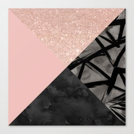 Modern pastel pink black strokes watercolor color block Canvas Print