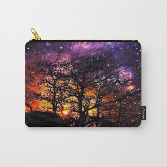 Black Trees Orange Purple Halloween Space Carry-All Pouch