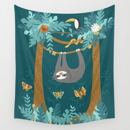 Sloth Hanging in a Teal Forest Wall Tapestry