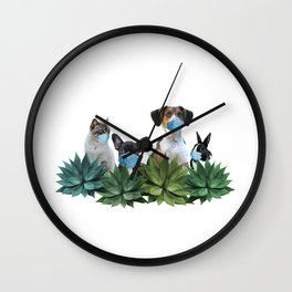 Pets Animals Mouth Nose Mask - Agave Leaves Wall Clock
