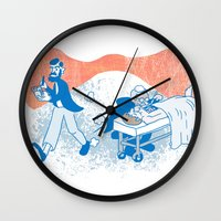 freud Wall Clocks featuring Freud and Halsted by Dustin Davis