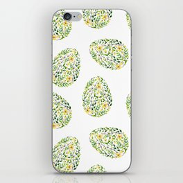 Artistic hand painted yellow green watercolor floral easter eggs iPhone Skin