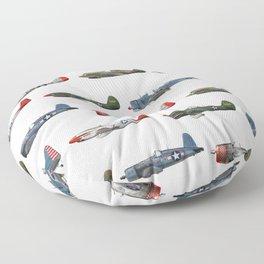 Pattern of World War 2 Fighter Planes Floor Pillow