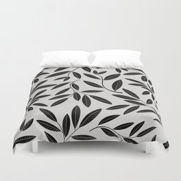 Black and White Plant Leaves Pattern Duvet Cover