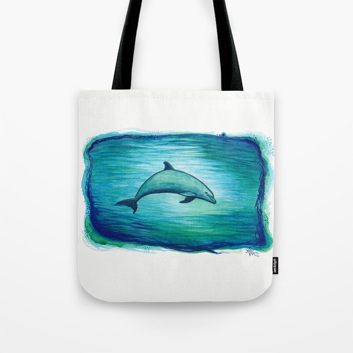 """Indigo Lagoon"" by Amber Marine ~ Watercolor Dolphin Painting, (Copyright 2015) Tote Bag"