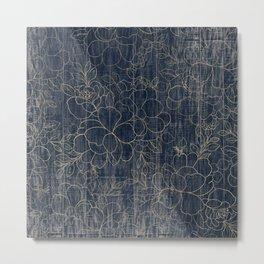 Rustic blue white wood gold floral Metal Print
