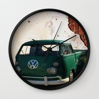 vw Wall Clocks featuring VW GRUNGE by Joedunnz