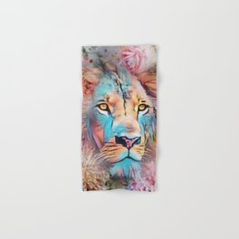 Colorful Lion Full Mane Surrounded by Flowers Hand & Bath Towel