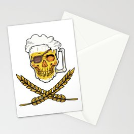 Beer Mug Pirate Skull - Brewery Emblem - Alcohol Stationery Cards
