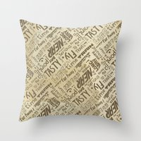 lettering Throw Pillows featuring Lettering Type by Little faba