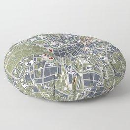 Berlin city map engraving Floor Pillow