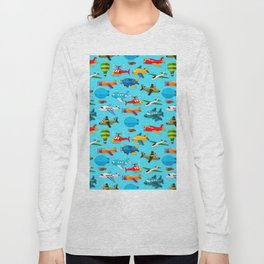 Cute Airplanes Helicopters Airships  Pattern Long Sleeve T-shirt