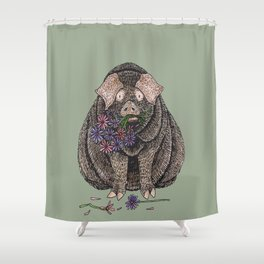 Pig with Flowers Shower Curtain