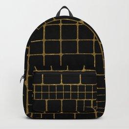 Golden black geometrical pattern Backpack