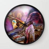 woodstock Wall Clocks featuring Woodstock 1969 by ZiggyChristenson