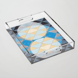 Triangle Pattern No. 14 Circles in Black, Blue and Yellow Acrylic Tray