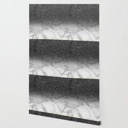 Stylish faux black glitter ombre white marble pattern Wallpaper