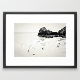 Cornwall beach life Framed Art Print