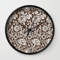 """William Morris Floral Pattern   """"Pink and Rose"""" in Chocolate Brown and White Wall Clock"""