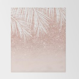 Modern tropical palm tree rose gold glitter ombre blush pink gradient Throw Blanket