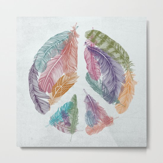 Feathers for Peace (Peace Sign) Metal Print