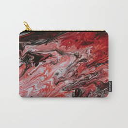 Colorful Pastel Red and Black Abstract Painted Fluid Art Carry-All Pouch