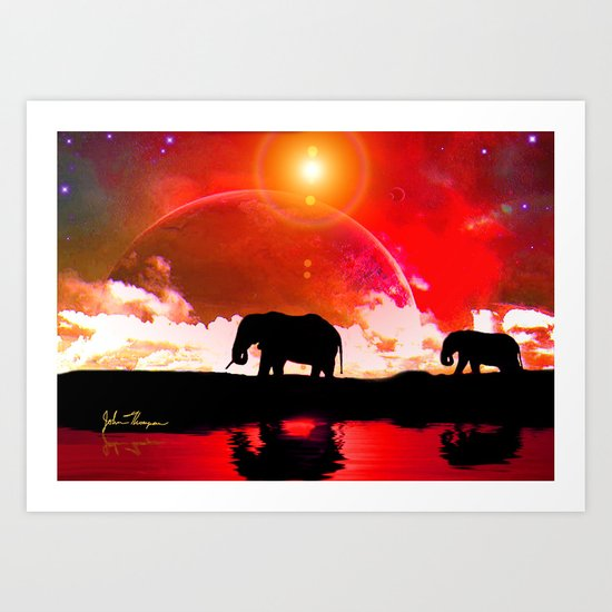 Elephants among the stars Art Print
