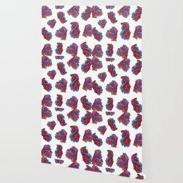Ocean Theme- Red Blue Betta Fish Wallpaper