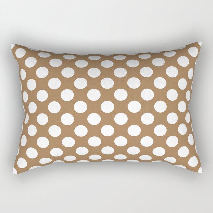 Brown and white polka dots Rectangular Pillow