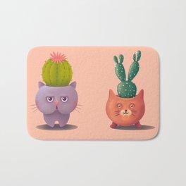 Cat cactus - kitty planter illustration Bath Mat