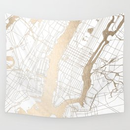 New York City White on Gold Wall Tapestry