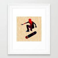 skateboard Framed Art Prints featuring Skateboard by marvinblaine