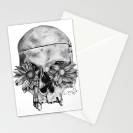Skull and Flowers Drawing Stationery Cards