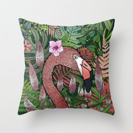 Florencia the Flamingo in her Forest Full of Florals Throw Pillow