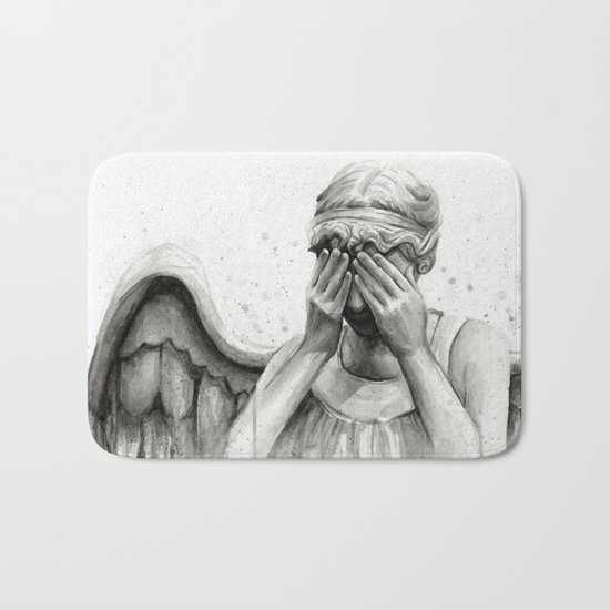 Weeping Angel Watercolor Painting Bath Mat