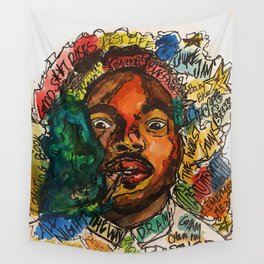 chance the rapper,coloring book,shirt,lyrics,music,art,wall art,cool,dope,colorful,painting,fan art Wall Tapestry