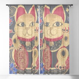 The Gold Cat Sheer Curtain