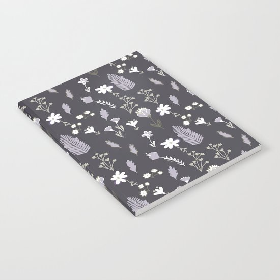 Dark Pastel Violet Flower Pattern Notebook