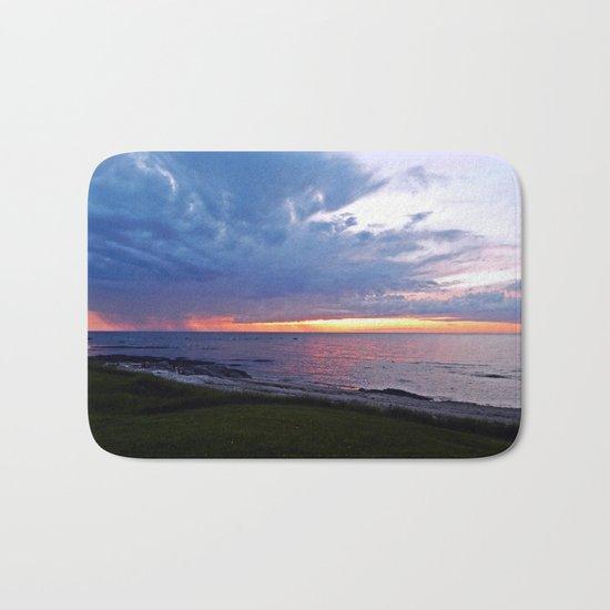 Sunset at Sea and the Rain Storm Bath Mat