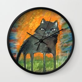cat in the moon Wall Clock