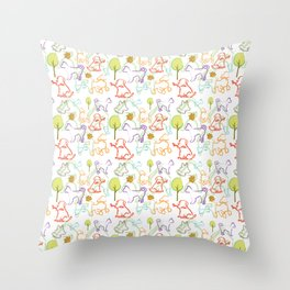 Dogs Pattern. Dog Lover. Animal. Dogs Dogs Dogs. Coloured Dogs Throw Pillow