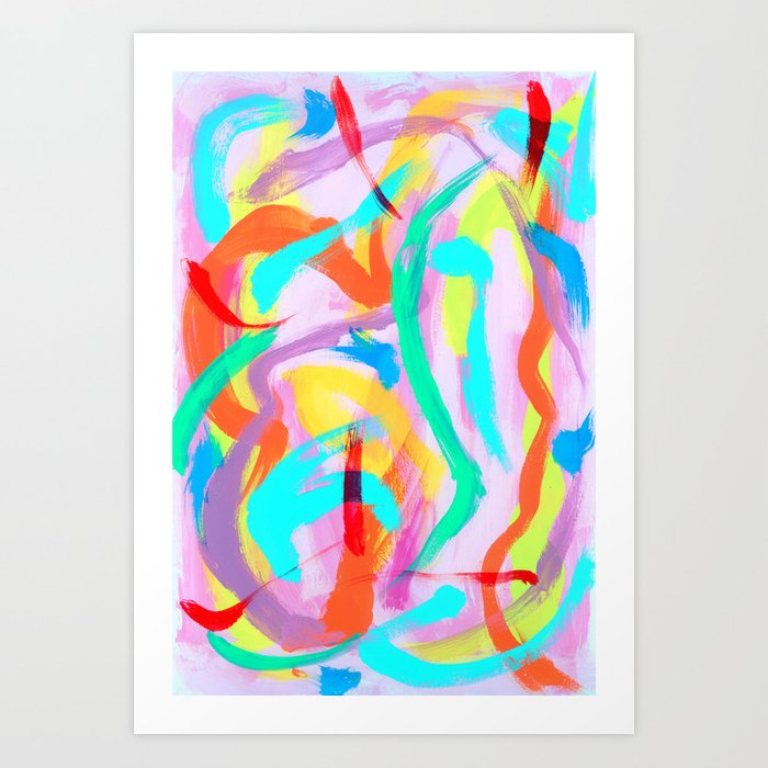 Dance All Night Colorful Modern Art Bright Color Abstract Painting Contemporary Art Print By Lennaarty