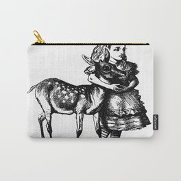 Alice and the Fawn in Black Carry-All Pouch